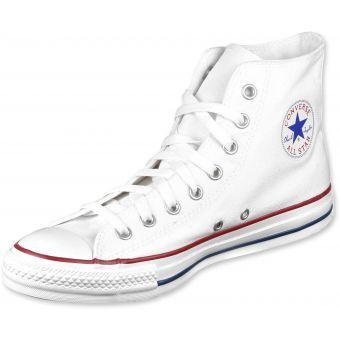 Description de l\'article Converse All Star Hi chaussures blancLa chaussure Converse All Star Hi est un vrai régal visuel, elle est l\'une des chaussures favorites et elle est très populaire !  Cette Converse est un vrai classique, elle est en blanc, elle a un style simple et elle a des bandes rouges bleues sur la semelle extérieure et le logo patch est sur le côté.  Tige : textile Doublure : textile