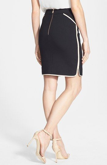Ted Baker London Leather Trim Pencil Skirt | Nordstrom