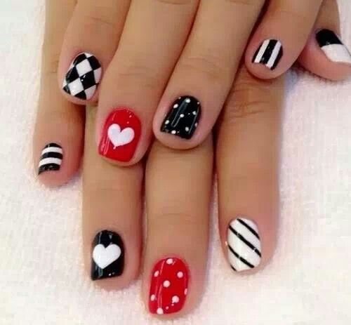 Red Black and White nail art ;)