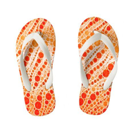 Florescent Orange Zebra Abstract Kid's Flip Flops #kidsflipflops #flipflops #thongs #kids #summer