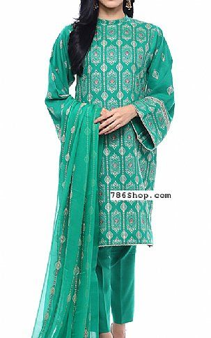 Sea Green Cotton Karandi Suit | Buy ​Bareeze Pakistani Dresses and Clothing online in USA, UK