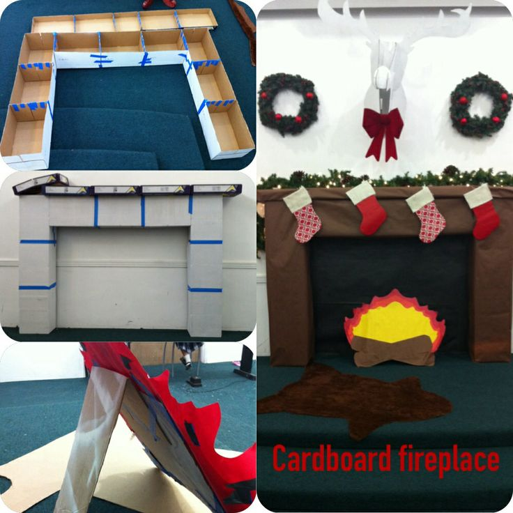 FBC Teen room Easy fireplace! Cardboard boxes and lids taped together with painters tape and covered with butcher board paper from Allen's party supply store.