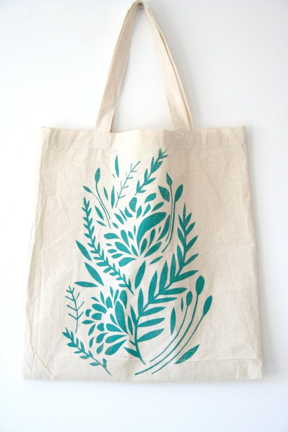 Turquoise Floral screen printed tote bag by StephieGinger on Etsy, £5.99