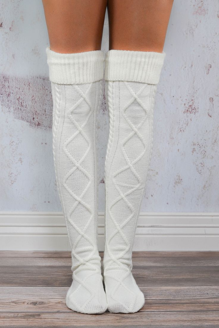 Cream Diamond Cable Knit Boot Socks