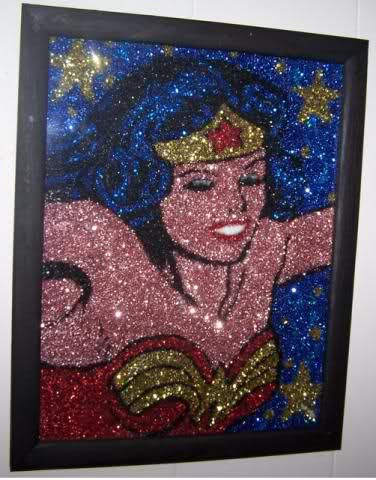 Wonder Woman glitter art @Heather Norfleet this totally reminded me of you