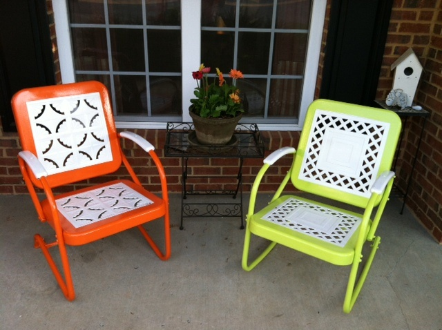 Bought two beat up white vintage metal chairs at a yard sale (20 bucks each I think) - this is the end result.. LOVE the color on the front porch!