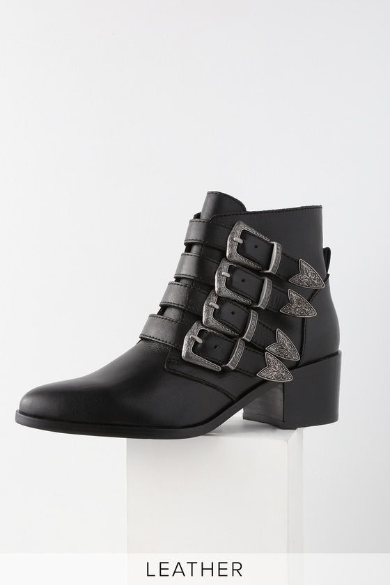 70dc460f7e7ad The Steve Madden Billey Black Leather Belted Ankle Booties were made for  strutting! Sleek genuine leather pointed toe booties with edgy belted  accents.