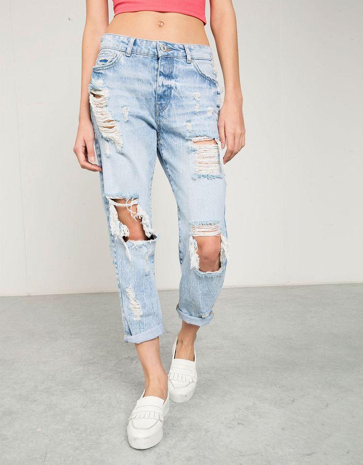 Jeans Girlfriend Bershka, used-look - Jeans - Bershka Netherlands