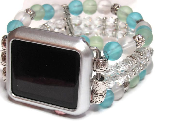Beaded Apple Watch Band - BeadsnTime - 4 Strand Apple Band - Womans Apple Band - Stretchy Apple Band - 38 mm or 42 mm Apple Watch Band by BeadsnTime on Etsy https://www.etsy.com/listing/524617732/beaded-apple-watch-band-beadsntime-4