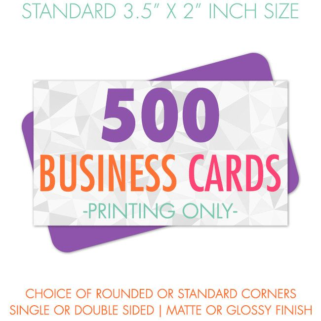 500 Business Cards Printed, Premium Business Card Printing, Matte or Glossy Finish, Standard Size by BearsGraphicDesign on Etsy