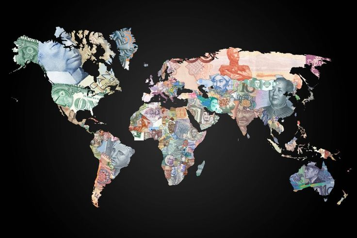 World map with countries shown as their currencies