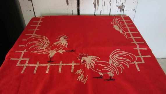 rooster cross stich   Red Rooster Farmhouse Tablecloth Cross Stitch by cozycottagechic