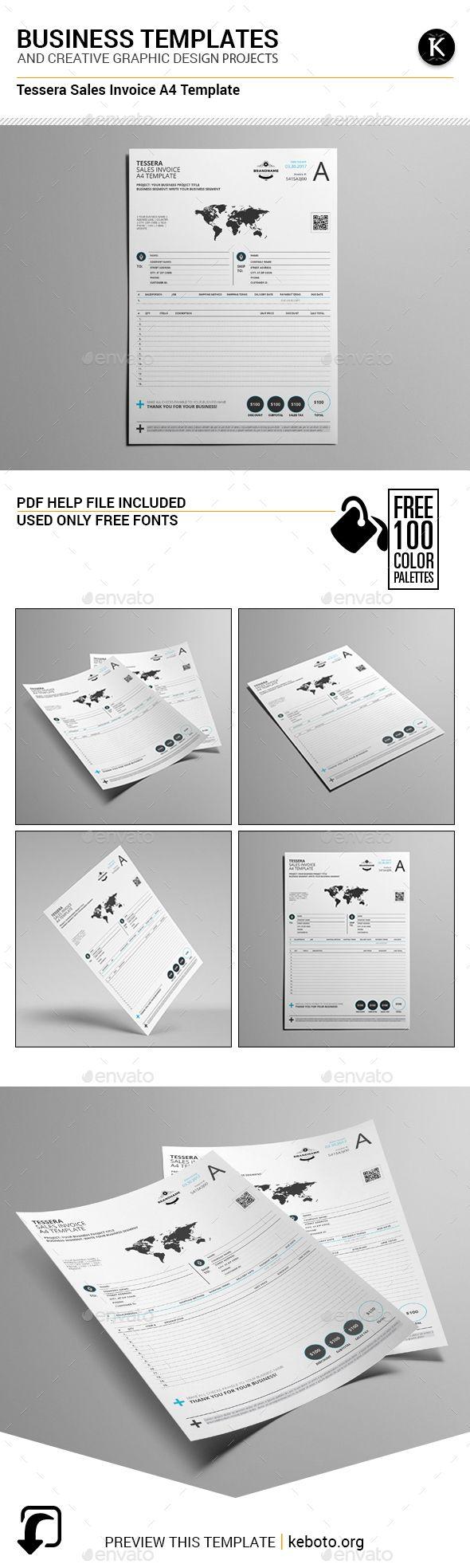 Tessera Sales Invoice A4 Template Templates Letter Templates Print Templates
