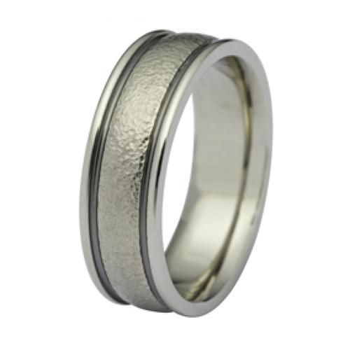 14 Karat White Gold Men's Wedding Band, 7mm Wide, With Dark Channel Edges With Hammered Texture, Soft Finish And A Heavy Weight. Ring Comes In Any Size