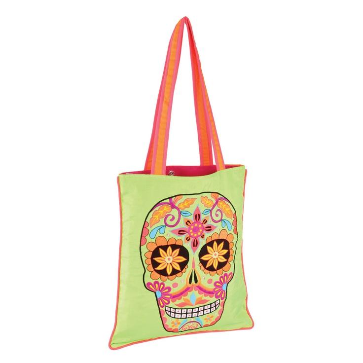 Fab.com | Embry Sugar Skull Bag Lime