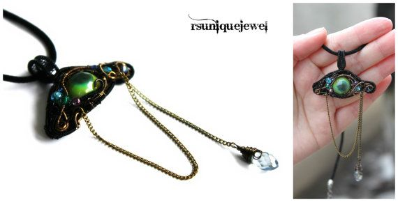 OAAk Wire Wrapped Green Dragon Eye Pendant by rsuniquejewel