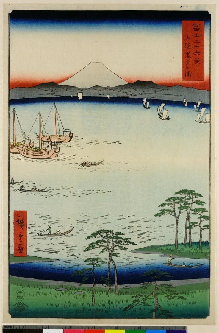 "Utagawa Hiroshige (1797-1858), Kazusa Kurodo no ura (上総黒戸の浦), 1858. From the series ""Thirty-six Viewss of Mt Fuji"" (Fuji sanjūrokkei, 富士三十六景), 1858 circa. Signed Hiroshige ga (広重画). Nishiki-e, ōban tate-e, cm. 37 x 25,2. Publisher: Tsutaya Kichizō (Kōeidō). London, The British Museum. An example of this beautiful print will be soon at auction for Florence Number Nine."