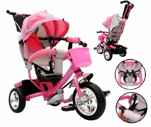 4 in 1 Kids Trike Tricycle 3 Wheel Pink Smart Ride Bike Parent Handle Sun Roof  #KidsTrikes