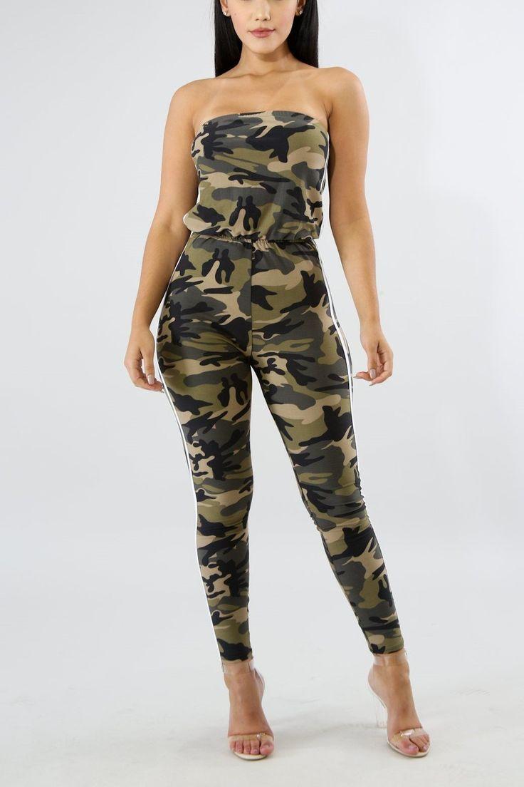 Jasmine's Strapless Camouflage Jumpsuit