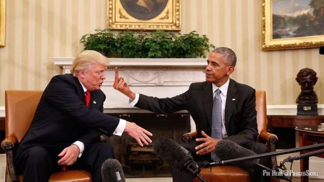 Obama may be thinking that finger...but he has way to much class to show it. Obama cares about this country and it's people...more than I can say for Donald Trump.