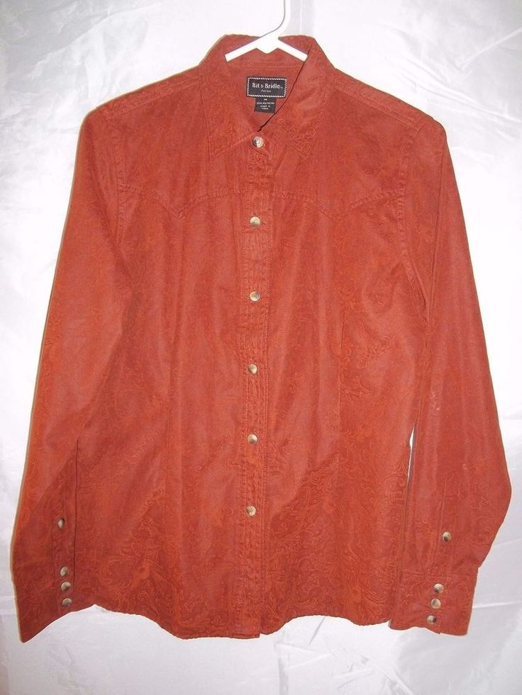 Bit & Bridle Western Shirt Top Pearl Snap Women's Burnt Orange Paisley Size M #bitbridle #western #top #shirt #pearlsnap #womens #fashion #rodeo #cowgirl #clothing #apparel #clothes #onlinestore #onlineshopping #ebay #ebaystore