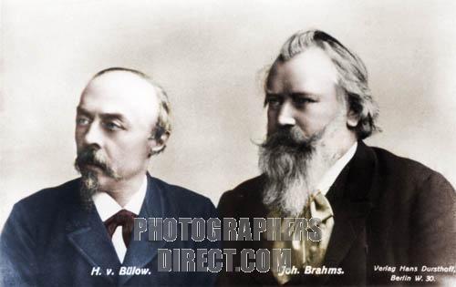 Johannes Brahms and Hans Von Bulow . Brahms : German composer . Bulow : German pianist and conductor ,
