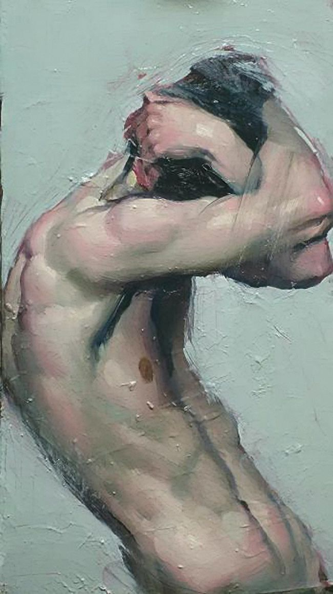 """Cover Up"" - Malcolm T. Liepke (b. 1954), oil on canvas, 2014 {contemporary figurative artist male torso man chest painting #loveart}"