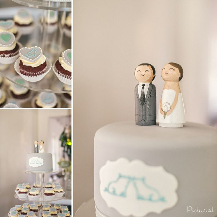 Wedding cake and cup cakes with piggies! How cute are those two pigs kissing. From Carla & Werner's wedding at Maison Estate in Franschhoek.