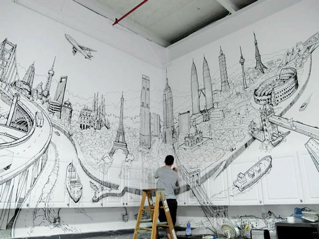 Global City Drawing by DeckTwo: Decks, Cities, Wall Painting, Art, Design, Drawing