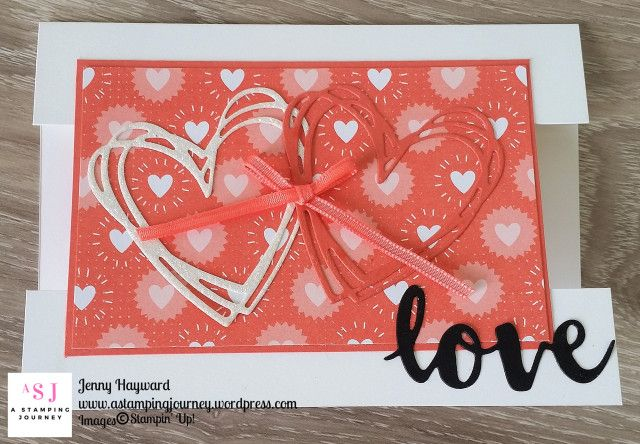 """It's a """"love"""" theme for the Stampin' Dreams Blog Hop this month. I made a centre Panel card and used the Sunshine Wishes Thinlits. How cool is the heart pattern in the Bubbles and Fizz Designer Series Paper pack."""