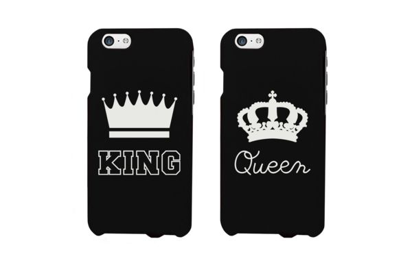 King and Queen Matching Couple Phone Cases for iPhone 4, iPhone 4S, iPhone 5S, iPhone 5C, iPhone 6, iPhone 6 Plus, Galaxy S3, Galaxy S4, Galaxy S5, HTC M8, and LG G3