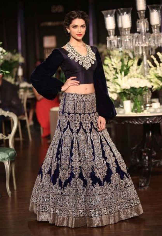 Manish Malhotra Navy Blue Lengha Wedding Reception Outfit And Gold Indian Bride Couture