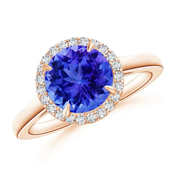 Angara V-Prong Tanzanite and Diamond Cathedral Ring in 14k White Gold kFg31aqLN
