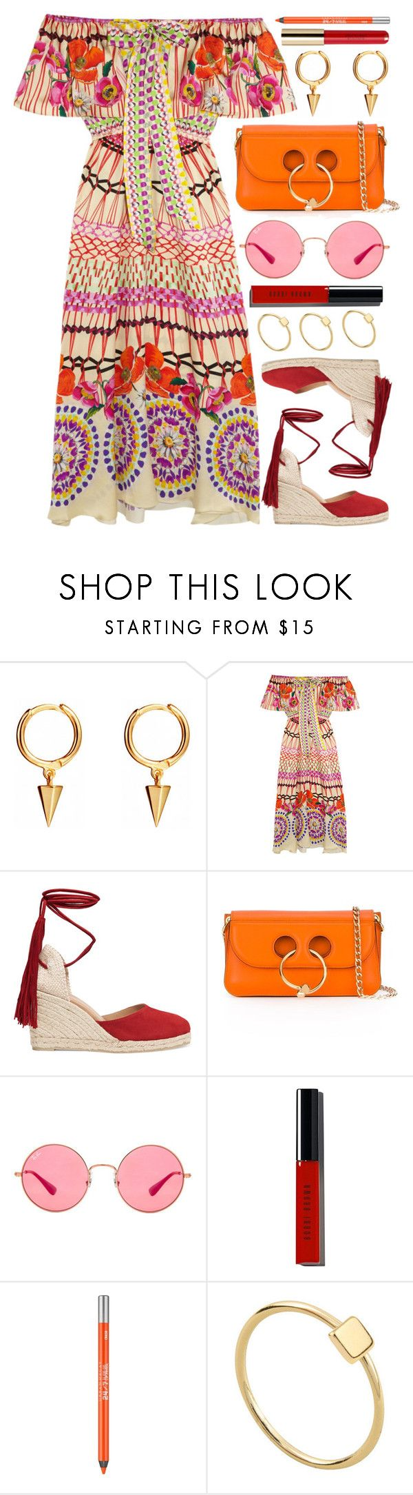 """Rhodes"" by monmondefou on Polyvore featuring Temperley London, Castañer, J.W. Anderson, Ray-Ban, Bobbi Brown Cosmetics, Urban Decay, red and orange"