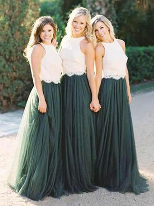 2 Pieces Off White Lace Teal Green Tulle Long Wedding Bridesmaid Dresses 8dbd8f7b1911
