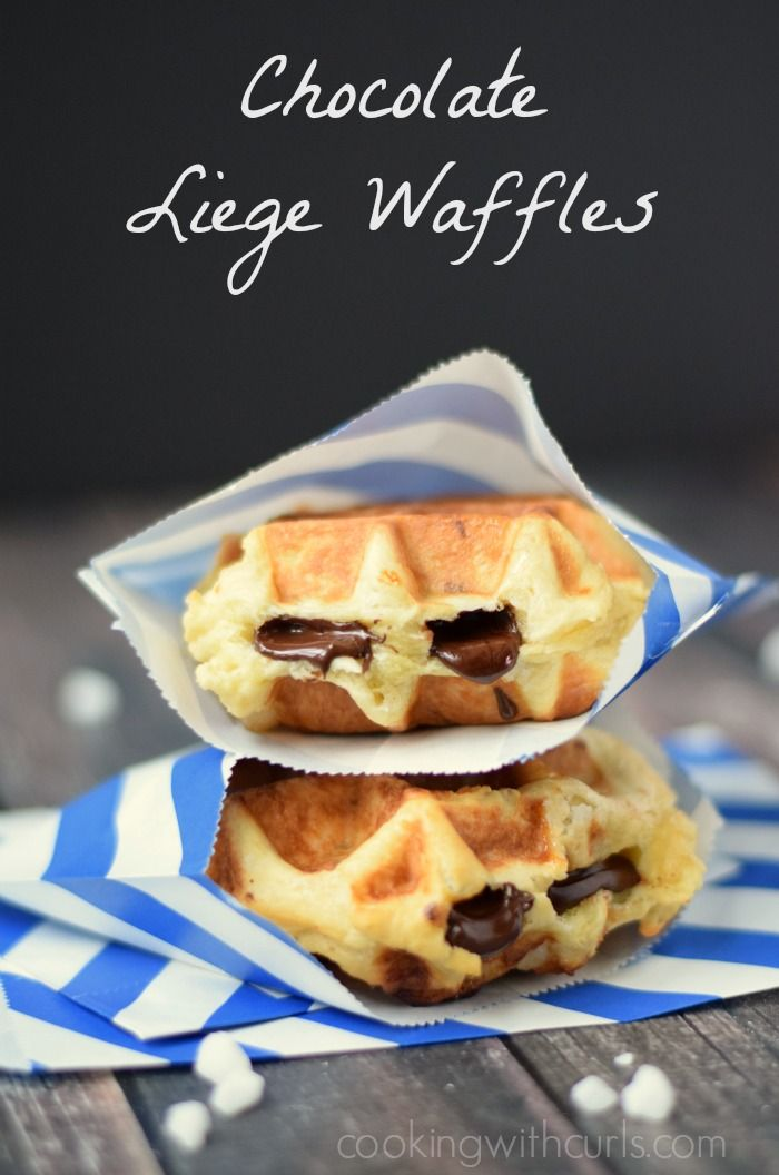 Traditional Chocolate Liege Waffles - stuffed with dark Belgian chocolate | cookingwithcurls.com