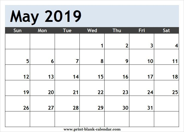 printable calendar may 2019 template pdf  excel  word