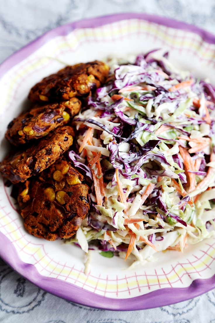 Coleslaw with Red Bean and Corn Patties - Vegan