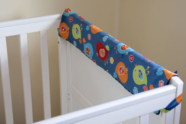 Teething guard for baby crib.