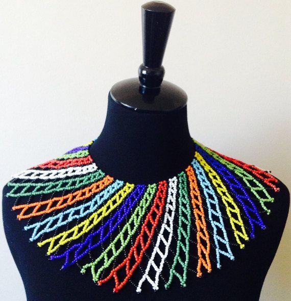 Zulu Perlen Lace Halskette von HouseofYimama auf Etsy