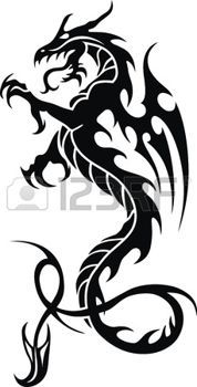 tatouage dragon: Le dragon stylisé sous la forme d'un tatouage Illustration