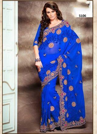 Elite Royal Blue Faux Chiffon Embroidery Work Casual Saree http://www.angelnx.com/Sarees/Designer-Sarees