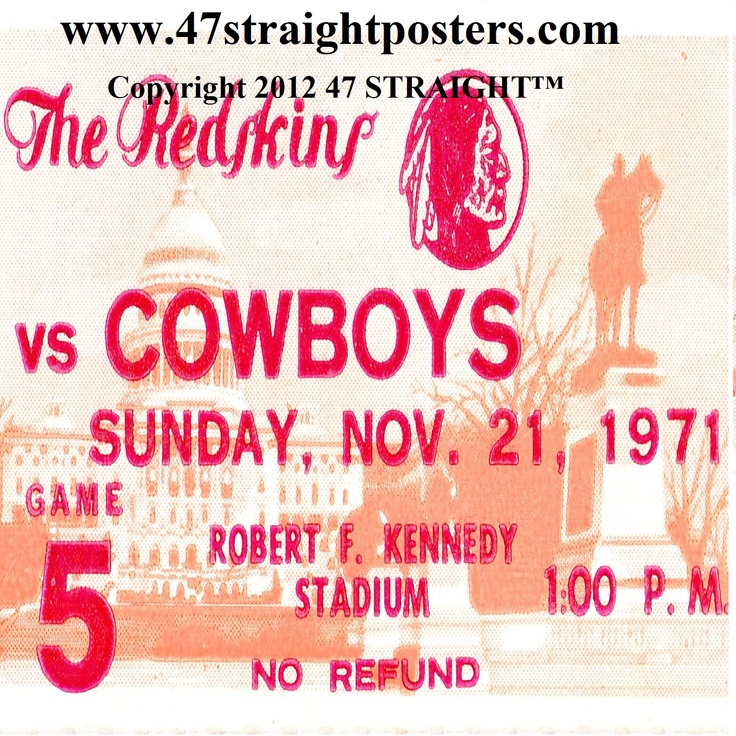 1971 Dallas vs. Washington Football Ticket Coasters.™ http://www.christmasfootballgifts.com/ Christmas football gifts. Perfect stocking stuffers for football fans! Most unique football gifts in America! Ceramic drink coasters made from authentic football tickets. #47straight #christmasgifts