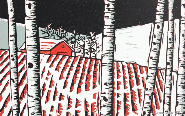 January. A multi coloured lino reduction print. An original limited edition.