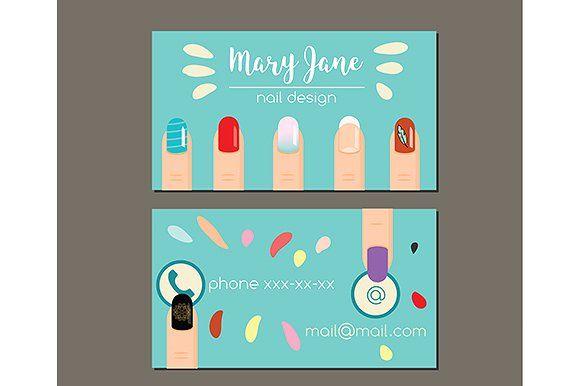 Manicure nail salon business card Templates INSIDE ZIP:- eps 10;- jpg 5000*4139 px by KSU's Little Shop
