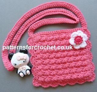 (4) Nombre: 'El ganchillo: pfc167-Girl patrón de crochet monedero de