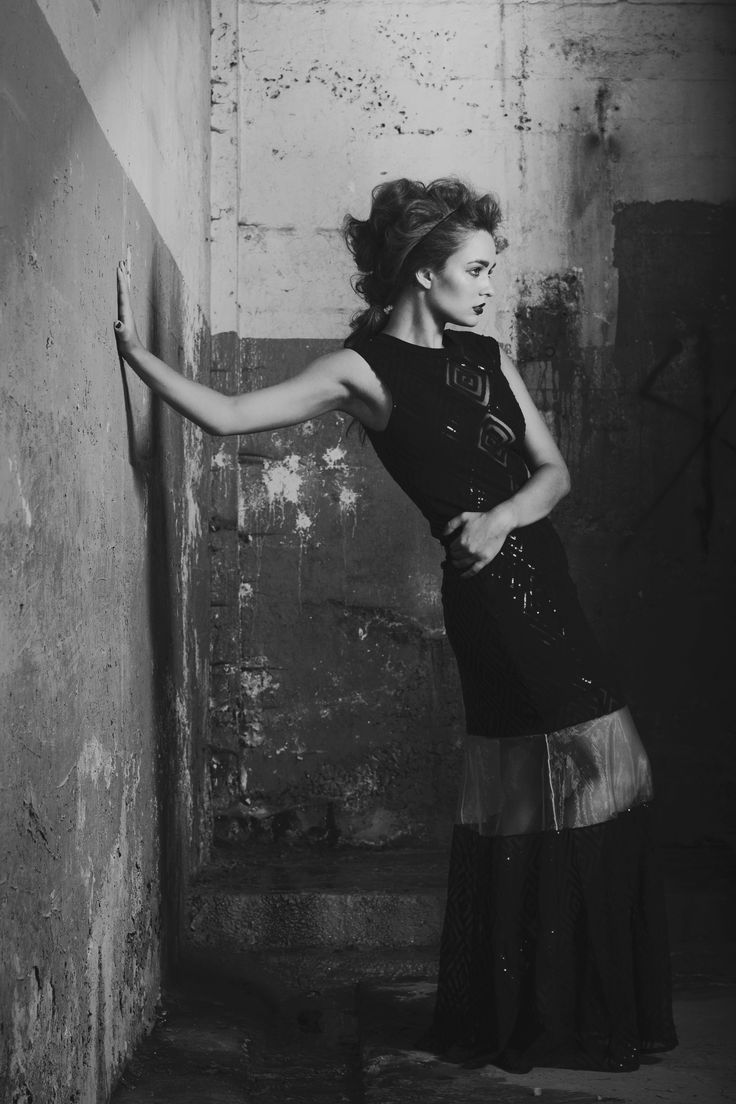 | Laurie Brown | Dramatic Fashion Editorial. Black sequin gown with cut outs.