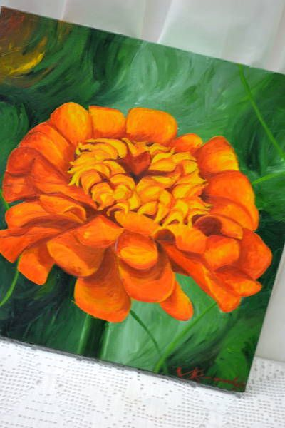 "Acrylic on Canvas - ""Zinnia Elegance"" Signed by Artist Sarah Kennedy, 2004 - Canvas Wrapped - Adds a nice pop of hot orange to your walls - 16"" Square"