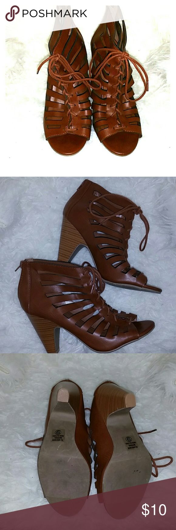 NEW Lace Up Sandal Heels. Pretty brown lace up sandal heels sz. 9. Never use only tried on.  Too big for me. Shoes Heels