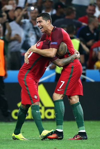 #EURO2016 Ricardo Quaresma and Cristiano Ronaldo of Portugal celebrate the victory after the penalty shootout concluding the UEFA Euro 2016 quarter final match...